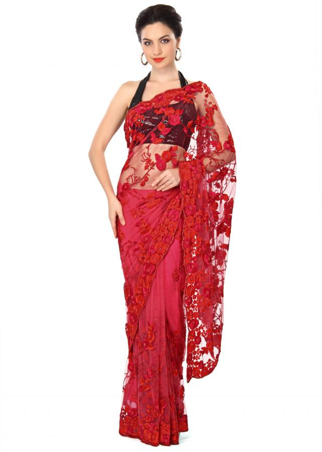 Pink saree enhanced in resham embroidery only on Kalki