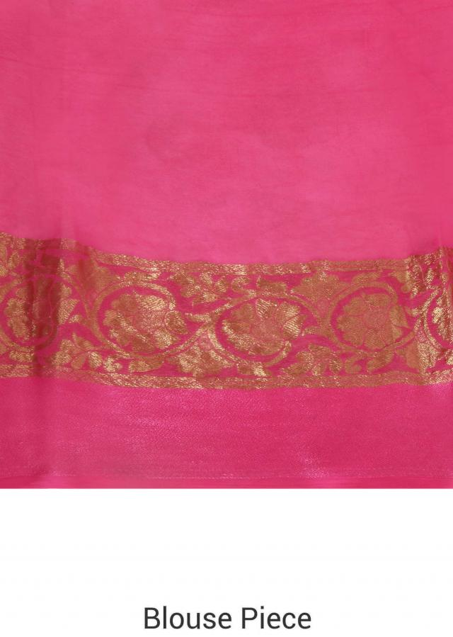 Pink saree in floral print with weaved border only on Kalki