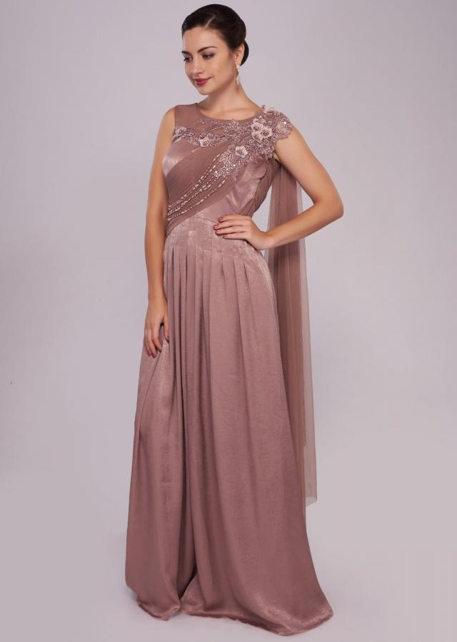 Pink satin gown enhanced in drape and embroidered yoke only on Kalki