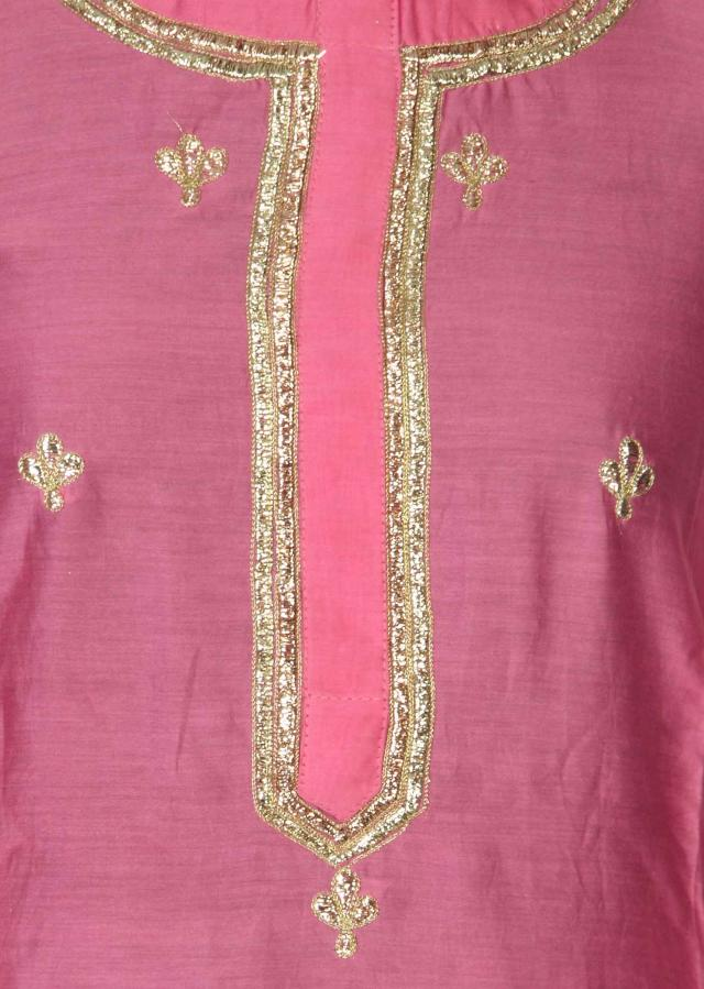 Pink semi stitched suit adorn in zari embroidery only on Kalki