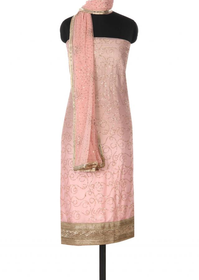 Pink shaded unstitched suit adorn in sequin only on Kalki