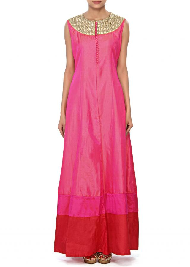 Pink suit enhanced in mirror and zari embroidery only on Kalki