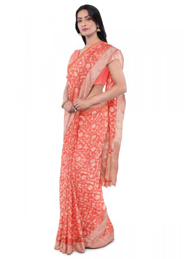 Pink Banarasi Saree In Two Toned Silk With Matching Blouse Piece Online - Kalki Fashion