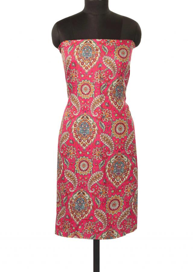Pink unstitched suit adorn in floral print only on Kalki
