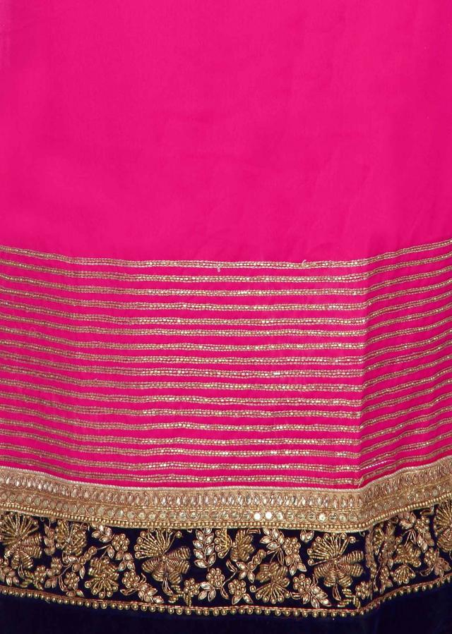 Pink unstitched suit adorn in kundan and zardosi embroidery only on Kalki