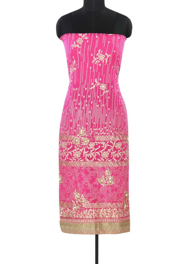 Pink unstitched suit adorn in resham and zari embroidery only on Kalki