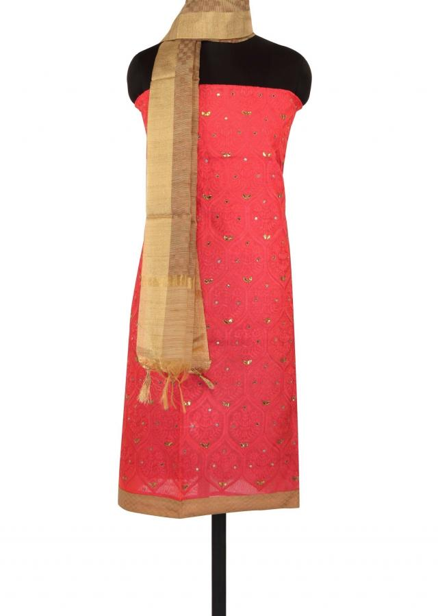 Pink unstitched suit adorn in thread embroidery only on Kalki