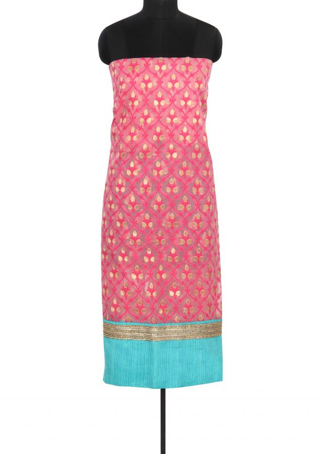 Pink unstitched suit enhanced in weave only on Kalki