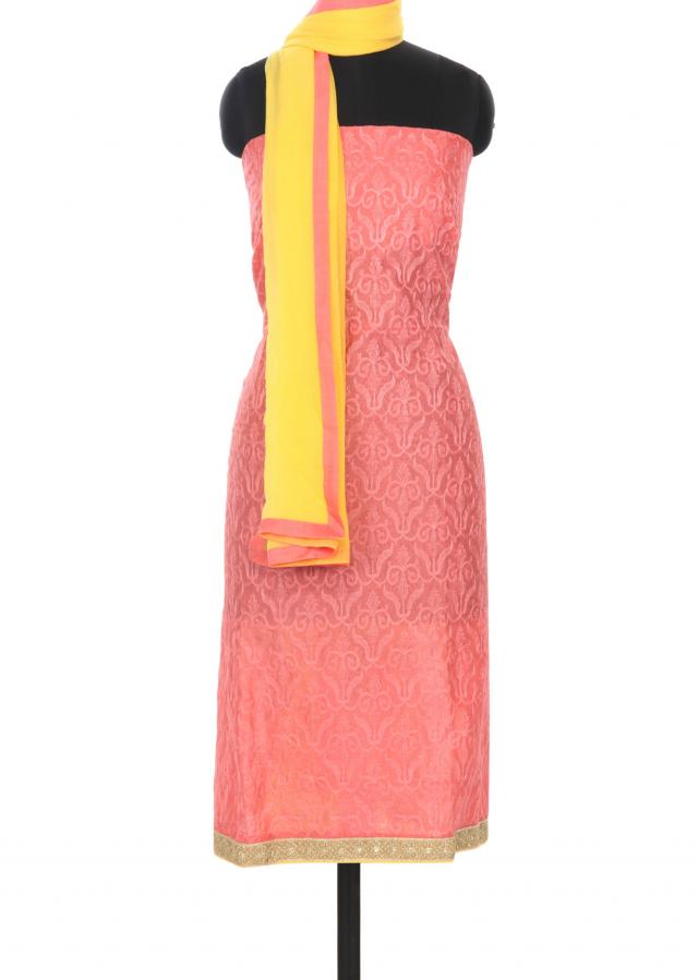 Pink unstitched suit in thread and zari border only on Kalki