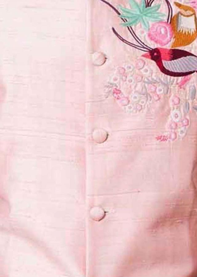 Pink Waist Coat in thread embroidered butti