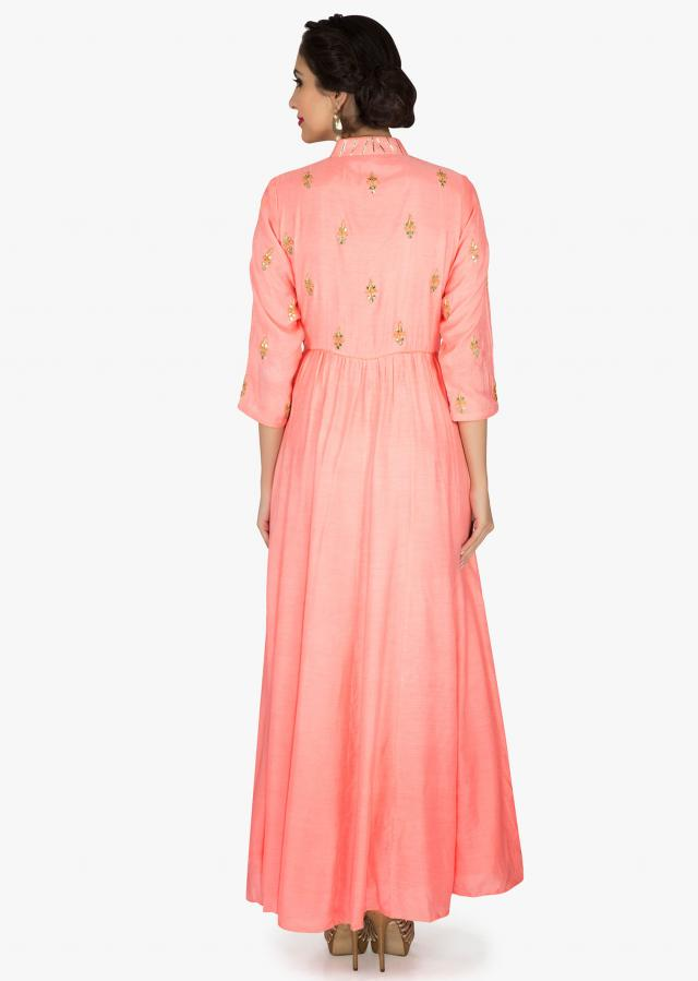 Pink anarkali suit in cotton with embroidered placket only on Kalki