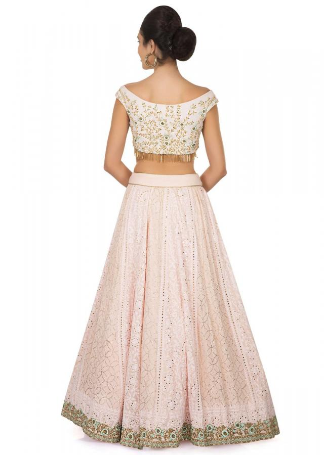 Pink and green combination lehenga in lucknowi thread work only on Kalki