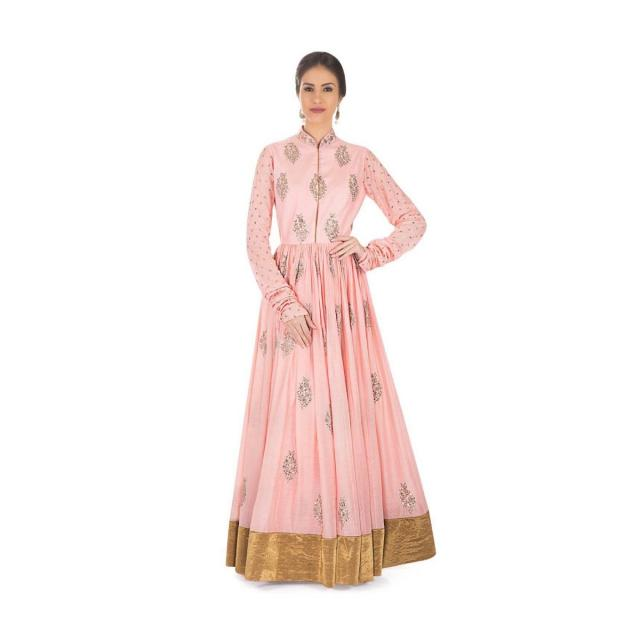 Pink Cotton Silk Dress Styled with Sequins and Zari Embroidered Butti  only on Kalki
