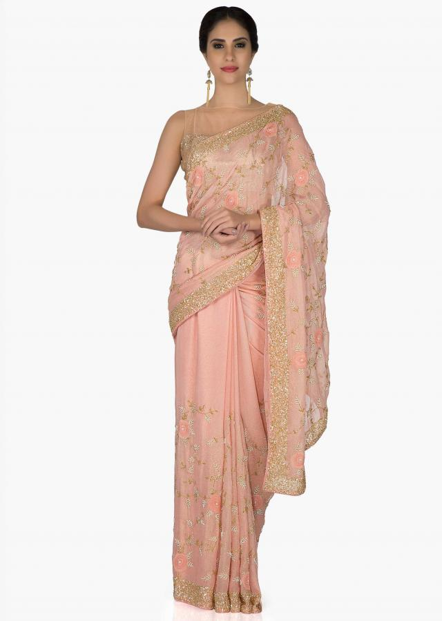 Pink Foil Georgette Saree and Georgette Blouse with Thread Work, Sequins and Moti only on Kalki