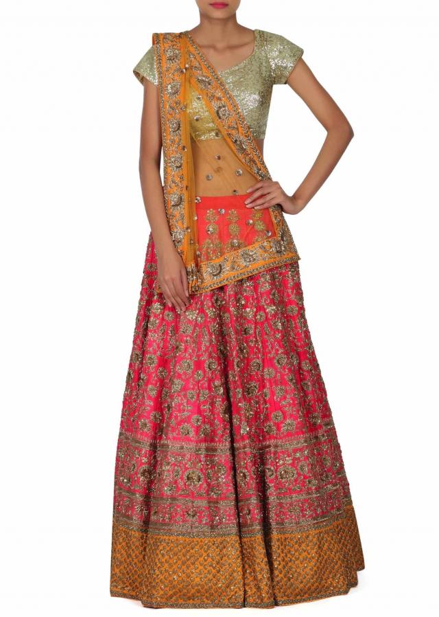 Pink lehenga adorn in zardosi and kundan embroidery only on Kalki