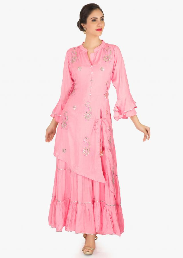 Pink one piece in cotton crafted in gottapatti embroidery work only on Kalki