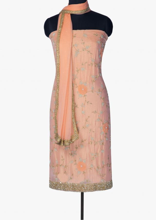 Pink unstitched suit in foil georgette embellished in sequin only on Kalki