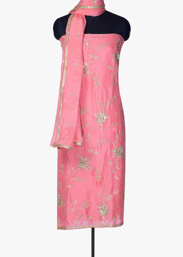 Pink unstitched suit in silk with sequin and cut dana only on Kalki
