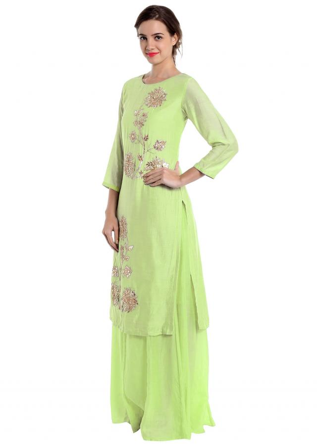 Pista green cotton silk palazzo suit with zardosi and gotta patch work only on Kalki