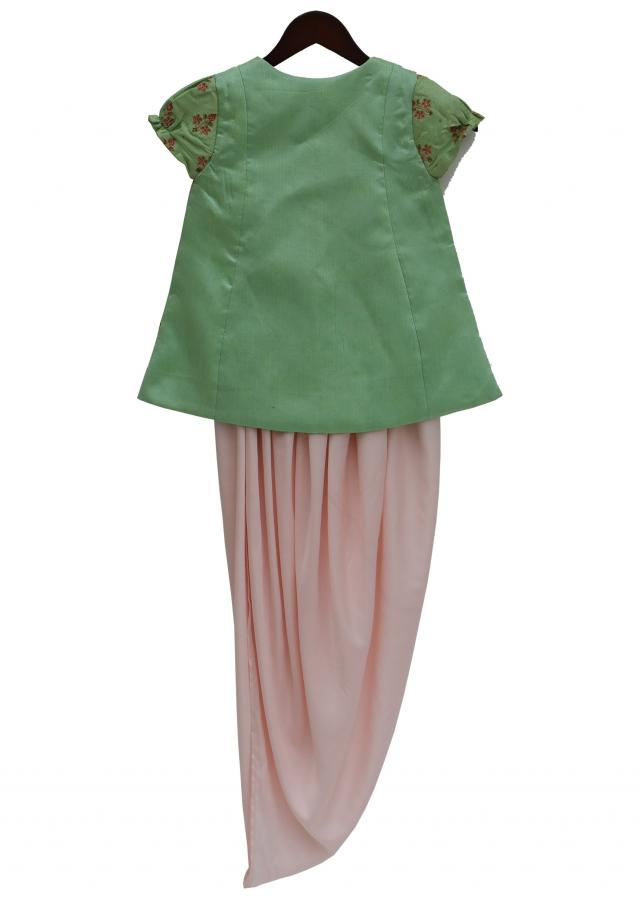 Pista Green Embroidery Jacket with Baby Pink Satin Silk Side open Dhoti by Fayon Kids
