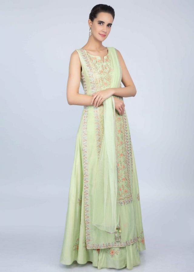 Pista green front panel embroidered suit with matching lehenga and dupatta only on kalki