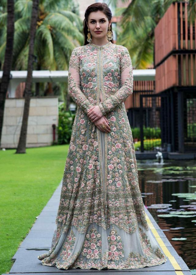 Pista Green Jacket Lehenga Embellished In Floral Jaal Embroidery With Zardosi And French Knot Online - Kalki Fashion