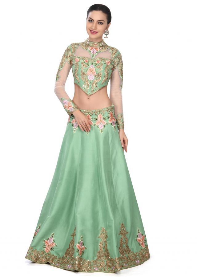 Pista green lehegna adorn in resham and zari embroidery only on Kalki