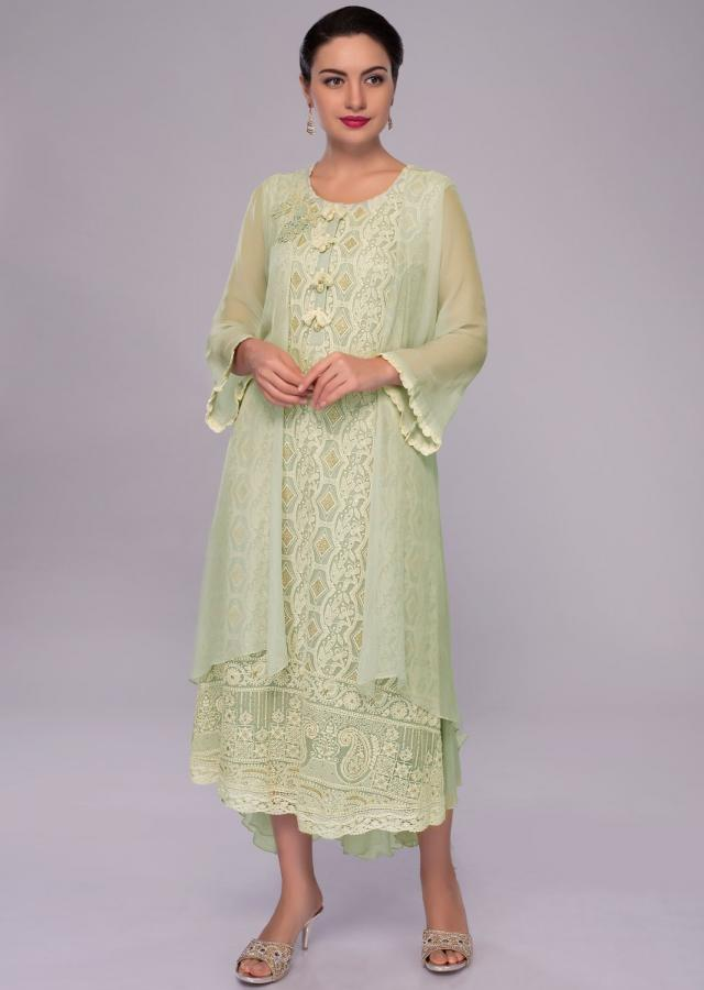 Pista green lucknowi embroidered georgette tunic dress with attached jacket only on Kalki