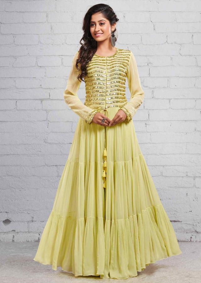 Pista Green Palazzo Set With Front Slit Adorn In Tassle Embroidery Online - Kalki Fashion