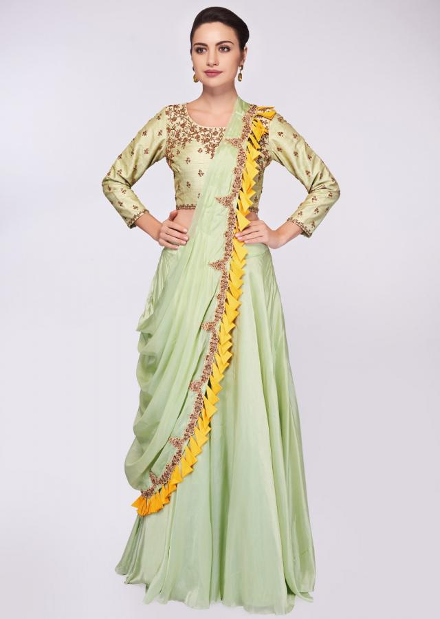 Pista Green Blouse In Embroidered Raw Silk Paired With Matching Organza Skirt And Wrap Around Dupatta Online - Kalki Fashion