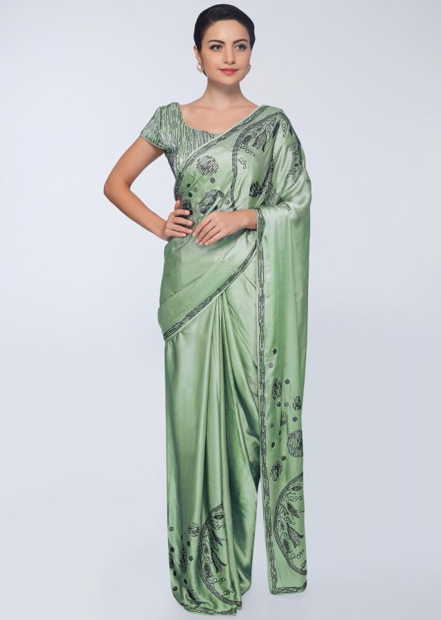 Pista Green Saree In Satin With Bottom And Pallu In Bird And Floral Embroidery Online - Kalki Fashion
