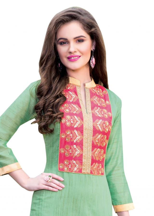 Pista green semi stitched suit with embellished placket