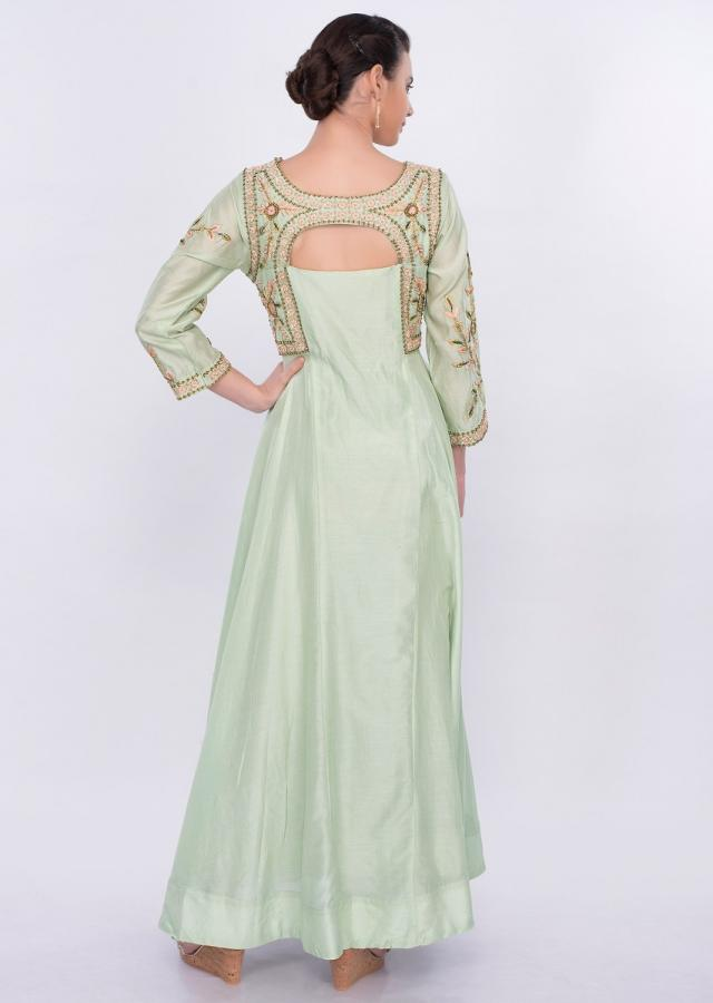 Pista Green Anarkali Dress In Silk With Floral And Peacock Motif Online - Kalki Fashion