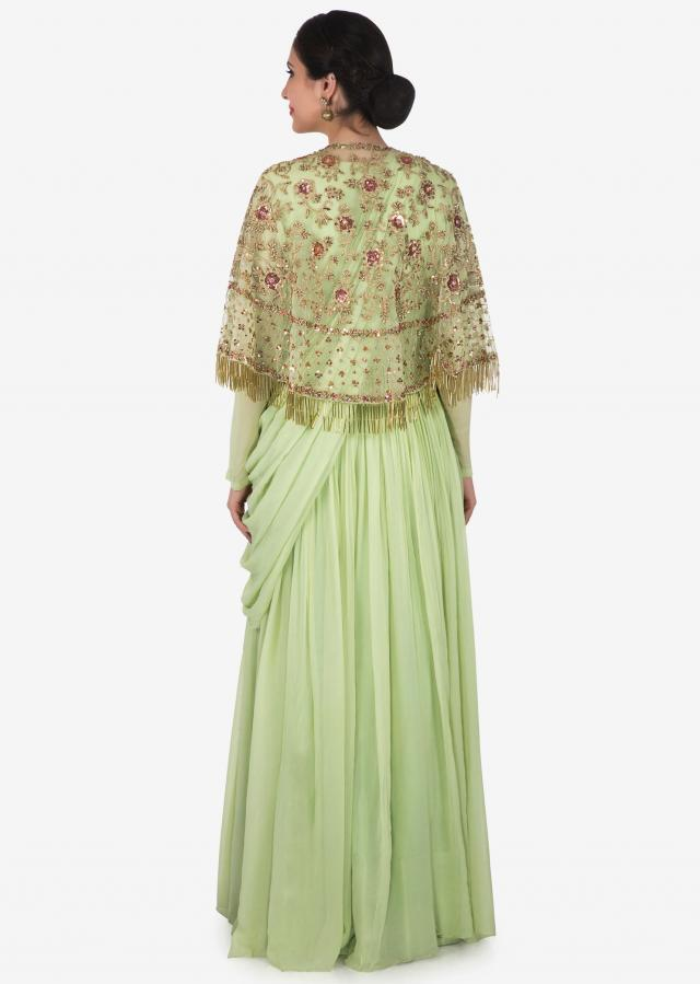 Pista green anarkali in georgette with an embellished cape only on Kalki
