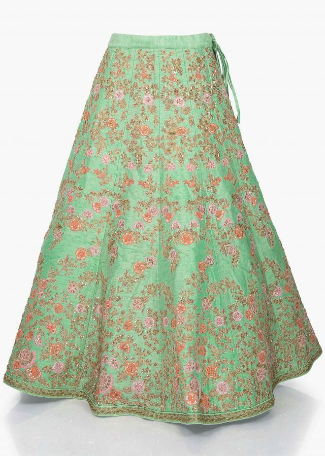 Pista green lehenga in raw silk embellished in zari and sequin work only on Kalki