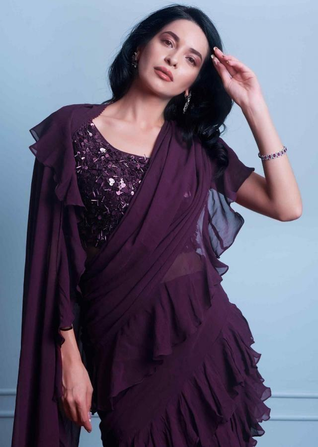 Plum georgette saree with ruffled hem and pallo only on Kalki