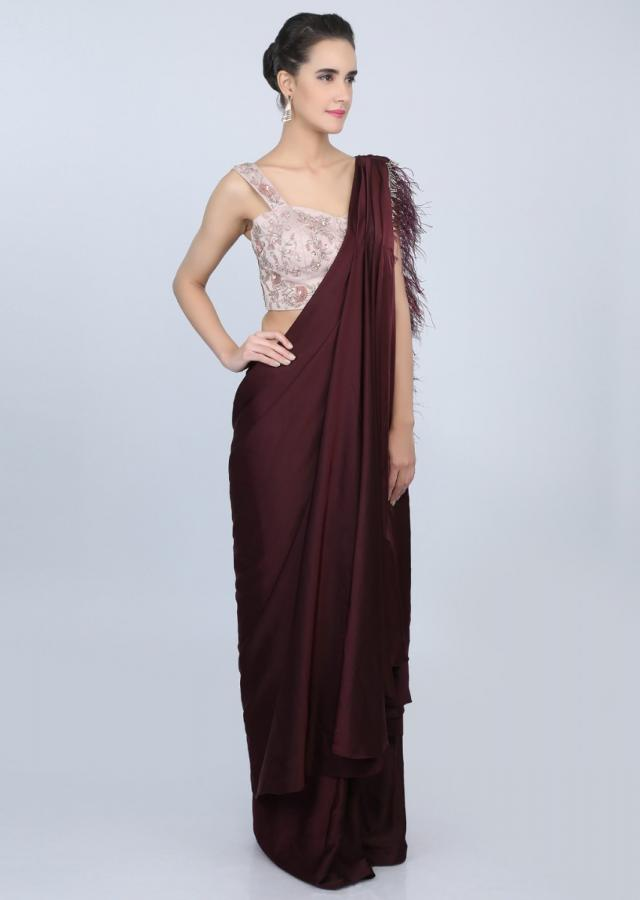 Plum satin ready plated saree with cowl drape and feathered pallo only on kalki
