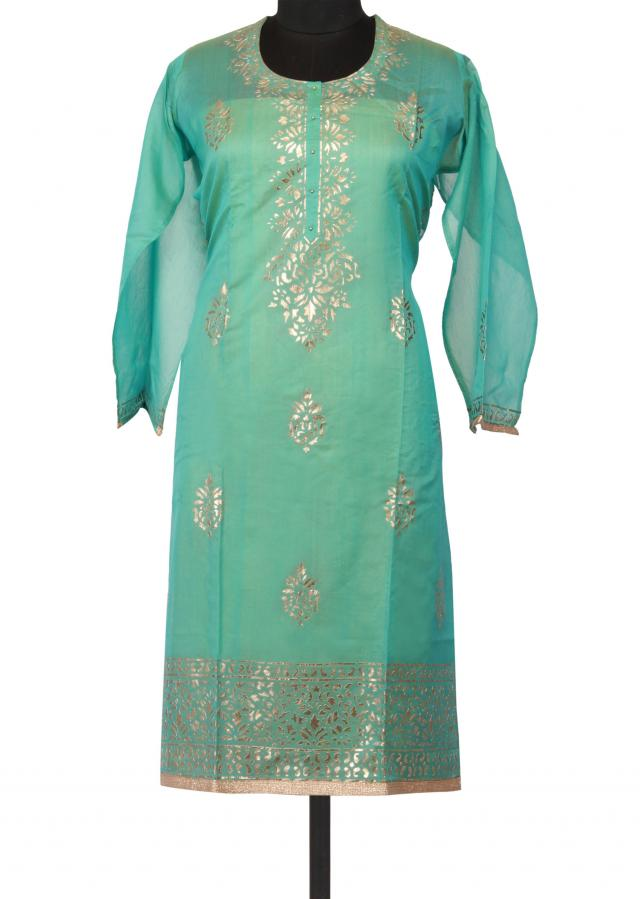 Pool blue semi stitched suit featuring in embossed foil print