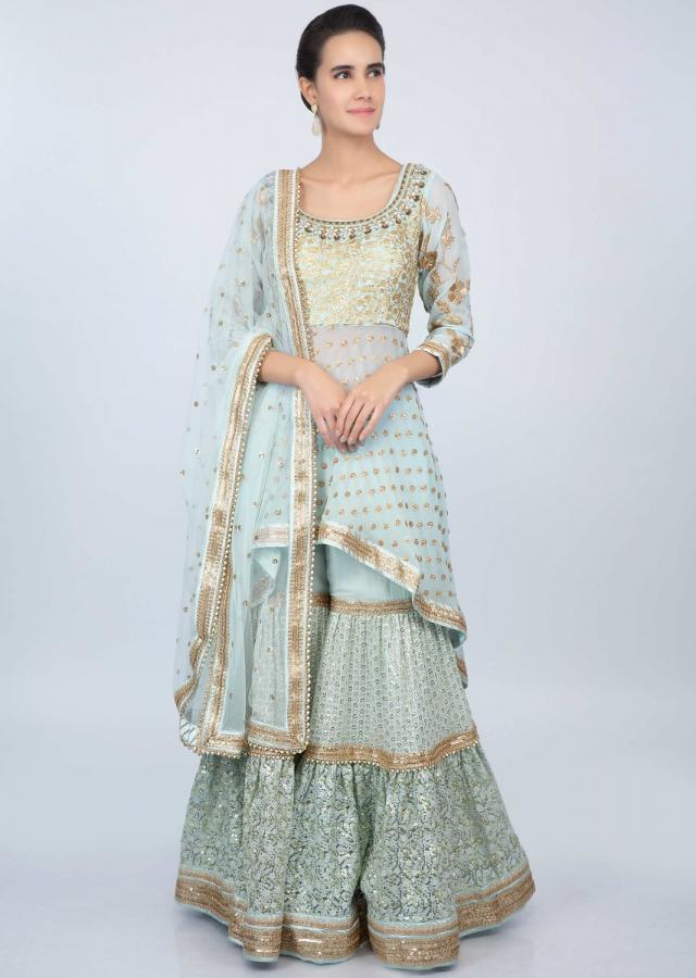 Divyanka Tripathi in Kalki powder blue embroidered sharara with front short back long fancy suit