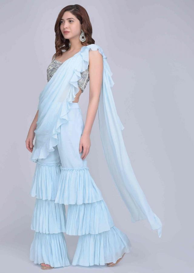 Powder Blue Fancy Frilled Sharara Set With A Pre Attached Ready Draped Dupatta Online - Kalki Fashion