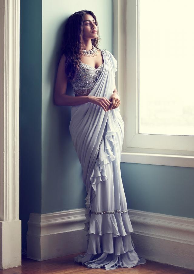 Powder Blue Saree In Chiffon With Ready Pleated Ruffle Pallu Online - Kalki Fashion