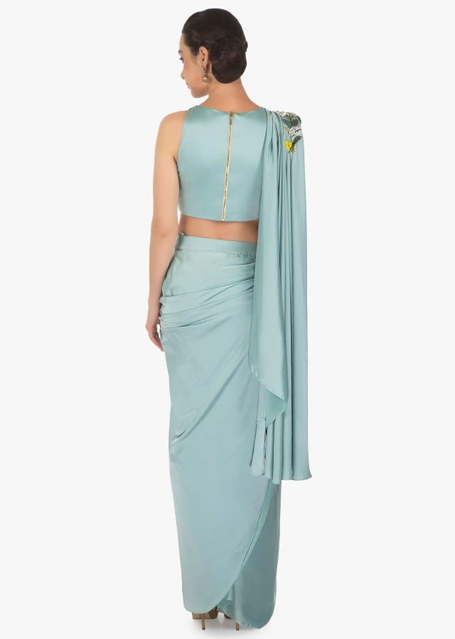 Powder Blue Satin Draped Lehenga and Blouse Adorned with French Knots Only on Kalki