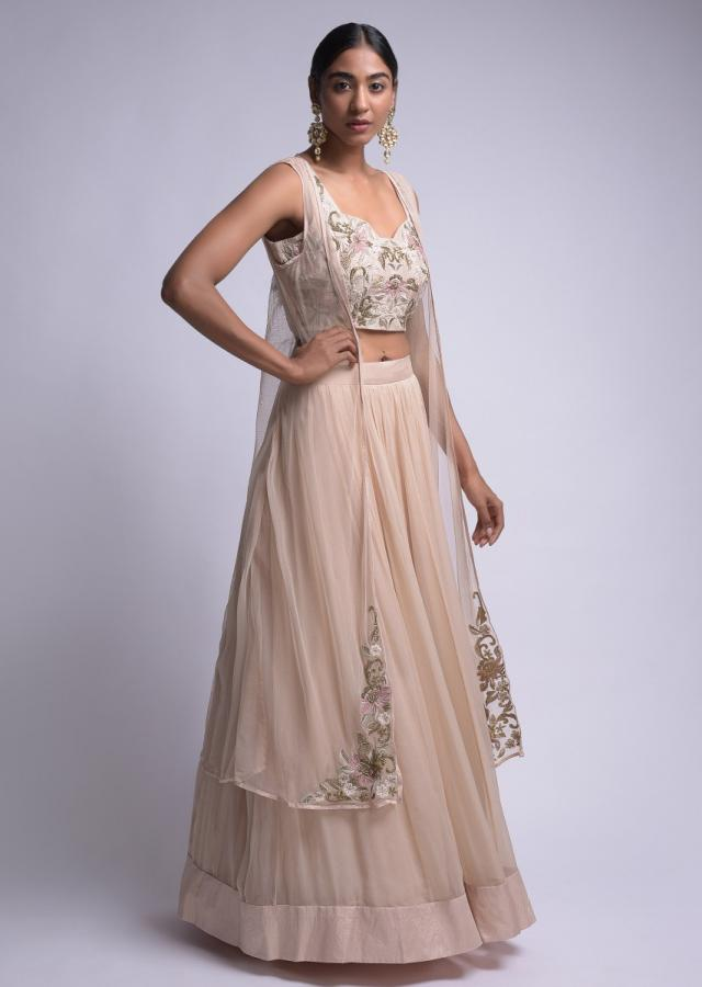 Powder Peach Jacket Lehenga With Sleeveless Crop Top And Floral Embroidery Online - Kalki Fashion
