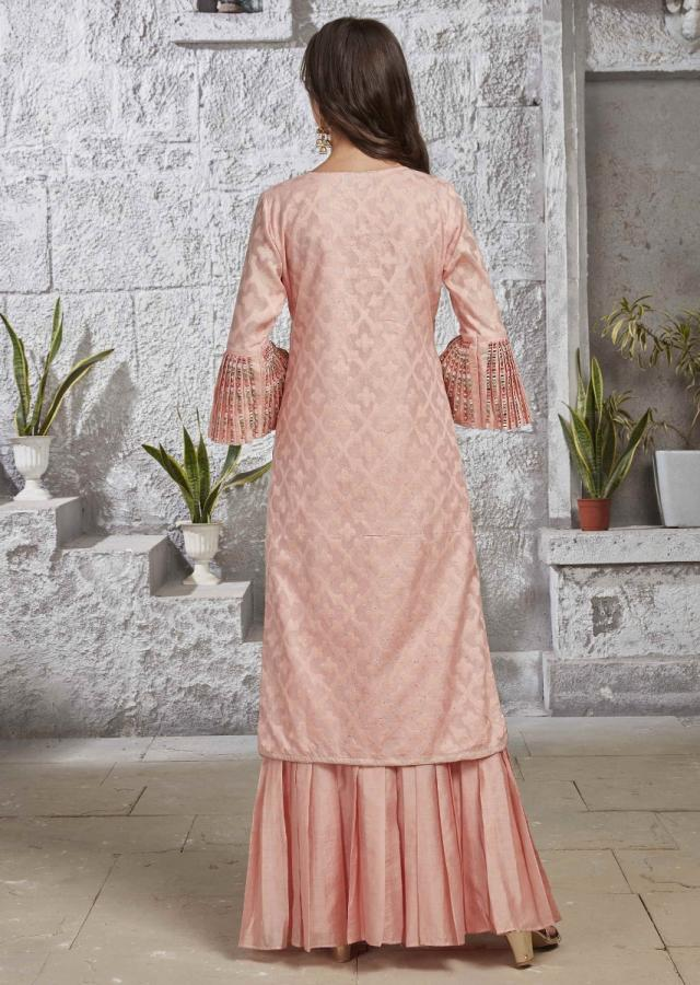 Powder Peach Suit In Silk With Net Dupatta Online - Kalki Fashion
