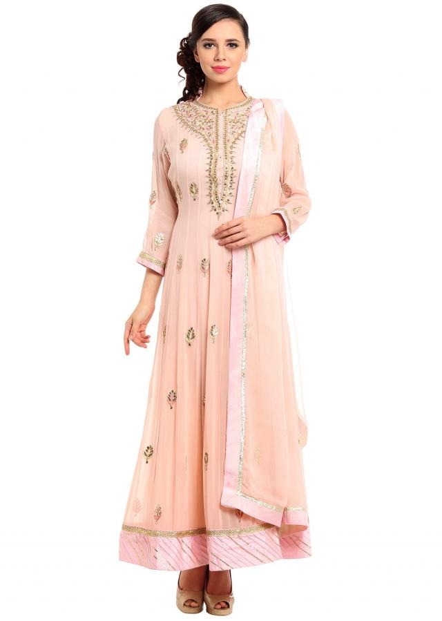 Powder pink anarkali suit in gotta patch embroidery only on Kalki
