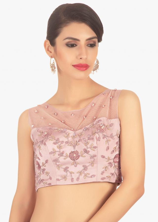 Powder Pink Blouse In Crepe Paired With A Contrasting Magenta Knife Pleated Layered Skirt Online - Kalki Fashion