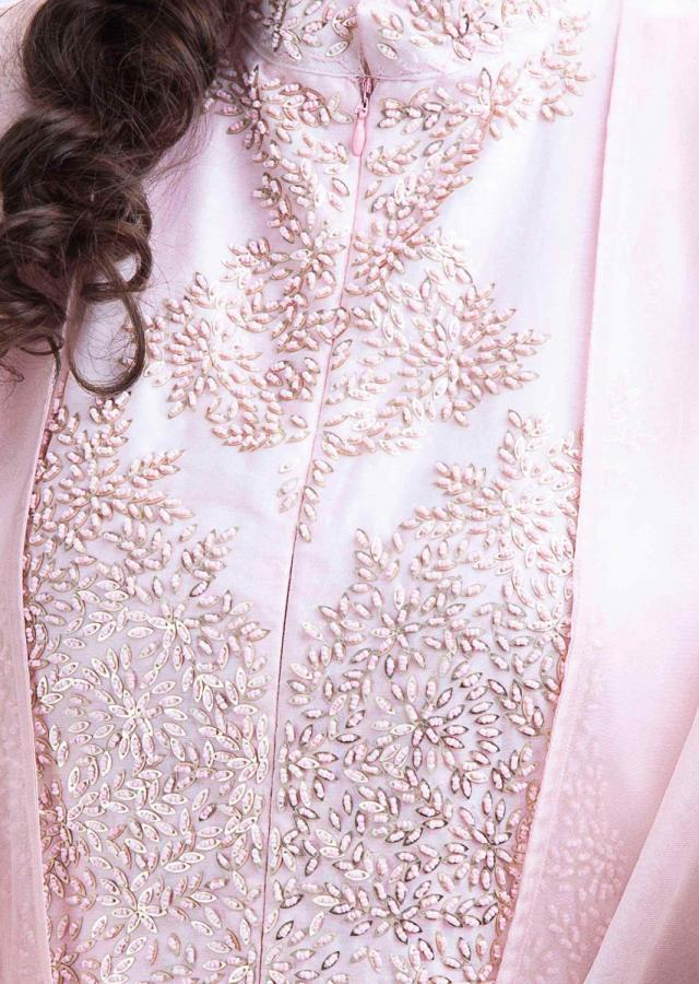 Powder Pink Long Tunic With Embroidery Work And Matching Organza Jacket With Frilled Sleeves Online - Kalki Fashion