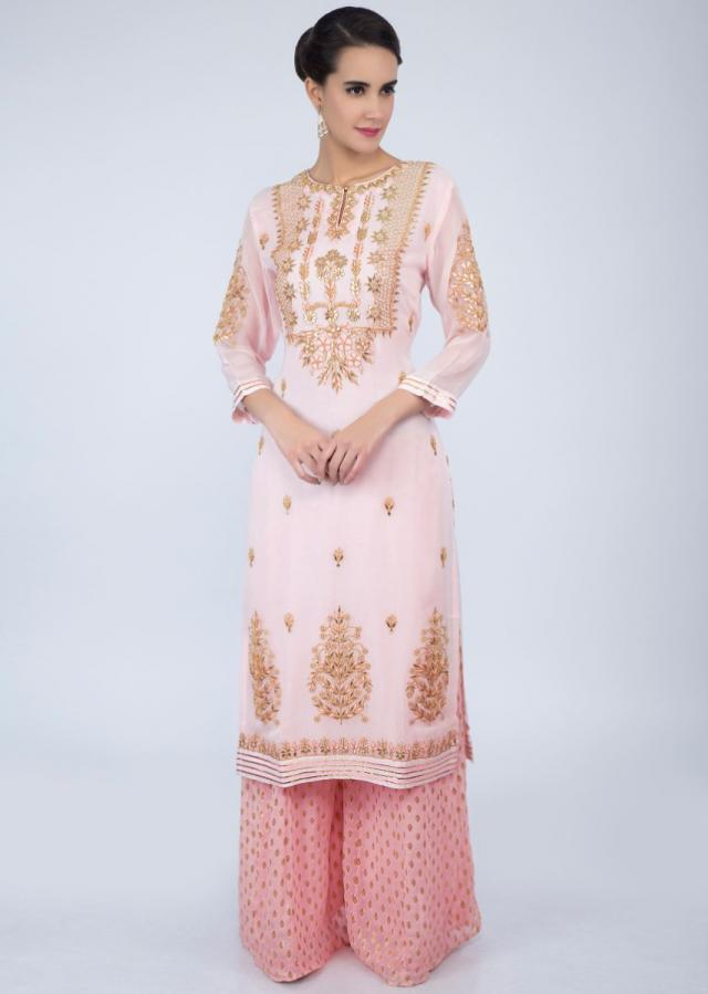 Powder Pink Suit With Embroidery Work And Dupatta With Rose Pink Weaved Palazzo Online - Kalki Fashion