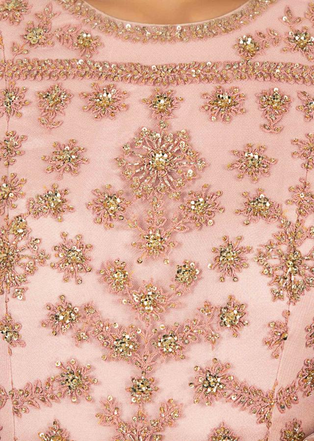 Powder pink floral thread embroidered net anarkali gown only on Kalki