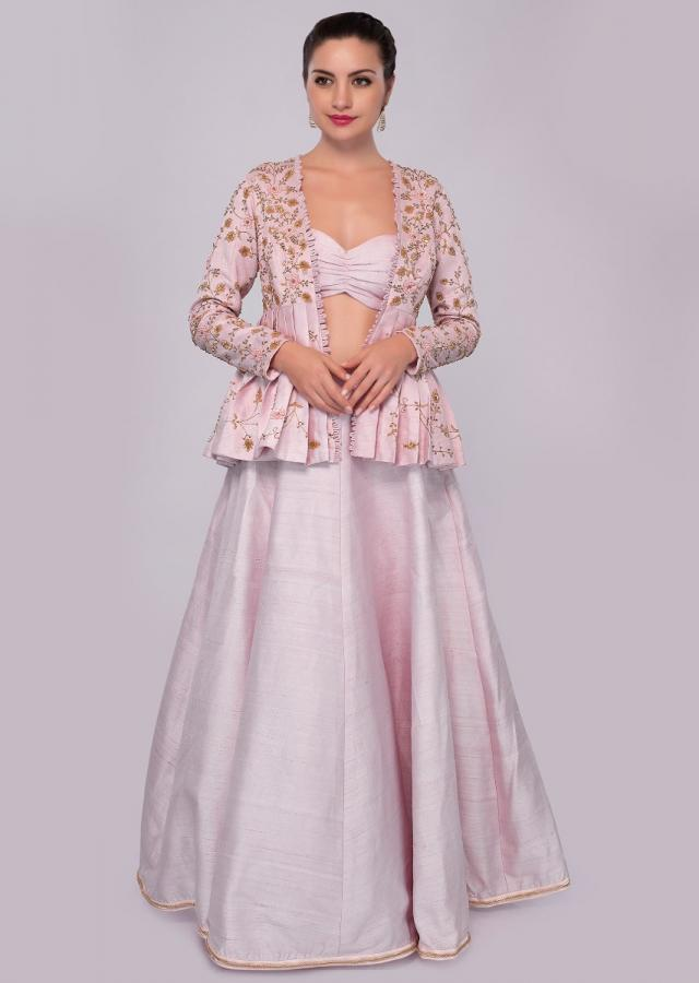 Powder pink lehenga and blouse with fancy embroidered jacket only on Kalki